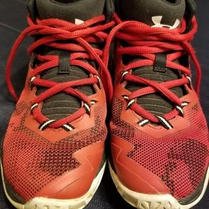 Boys under armour red and black sneakers